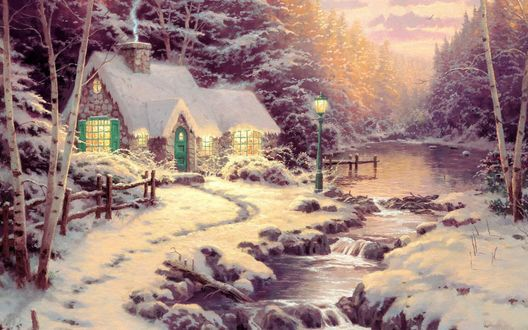 Обои Домик в снегу посреди леса возле речки, art Thomas Kindale