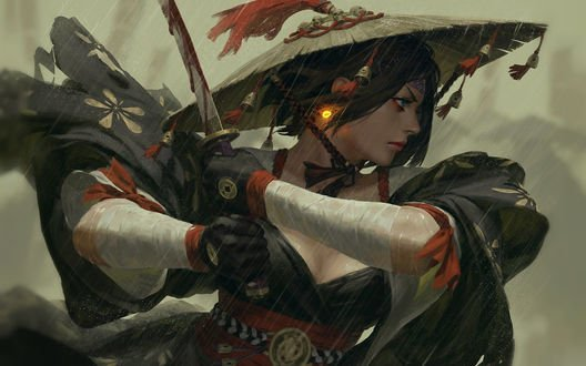 Обои Девушка с мечом под дождем, by GUWEIZ