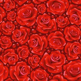 Обои Векторные, красные розы в каплях