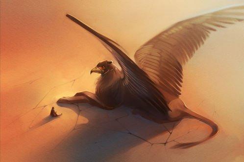 Обои Огромный крылатый черный грифон и маленький человек сидят рядом на высохшей песчаной земле