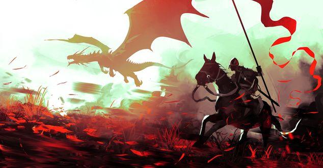 Обои Рыцарь на коне со знаменем скачет за летящим в тумане драконом