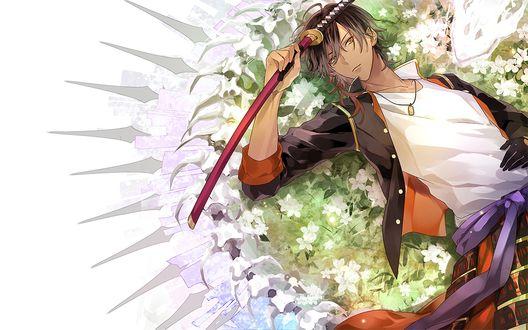 Обои Ookurikara с катаной лежит на цветочной поляне из игры Touken Ranbu / Танец мечей