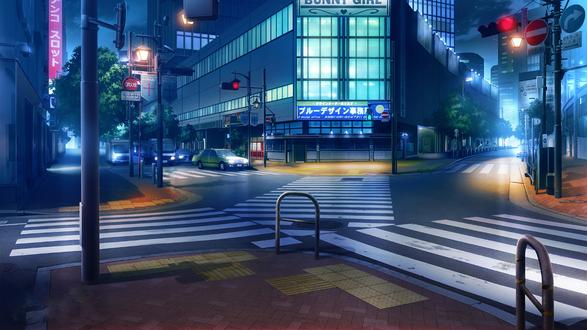 Обои Перекресток ночного города