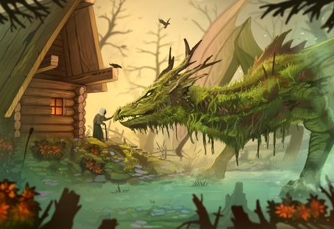 Обои Старушка с клюкой стоит на крыльце дома и гладит болотного дракона, by Yakovlev-vad