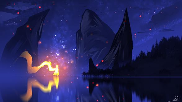 Обои Силуэт человека в огненном плаще, стоящего на поверхности воды, на фоне ночного неба и гор, by ryky