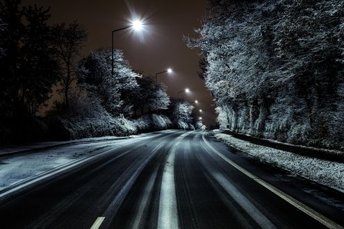Обои Ночная дорога в свете фонарей через зимний лес