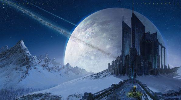 Обои Стеклянный замок на фоне луны в заснеженных горах. Человек стоит на дороге