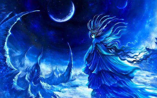 Обои Темная волшебница среди снежных скал и лун