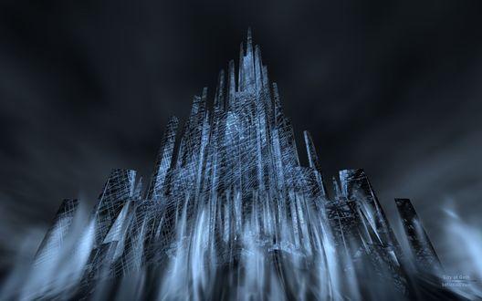Обои Стеклянный 3D замок в тумане на фоне темного неба