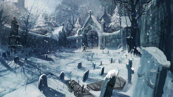 Обои Кладбище зимой и человек возле ворот из игры Witcher / Ведьмак