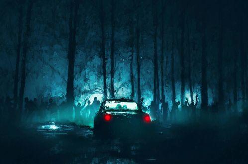 Обои Автомобиль с включенными фарами стоит ночью в лесу, кишащем зомби