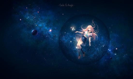 Обои Девушка парит на фоне планеты в космосе, by TID