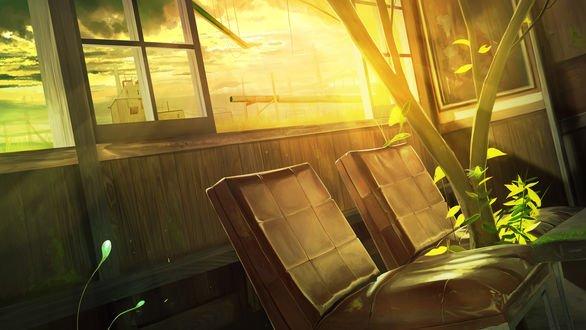 Обои В окно заброшенного строения проникают лучи солнца