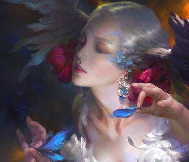 Обои Белокурая девушка с крыльями на голове, с закрытыми глазами отрывает крылышко голубой бабочки, by Wei Feng