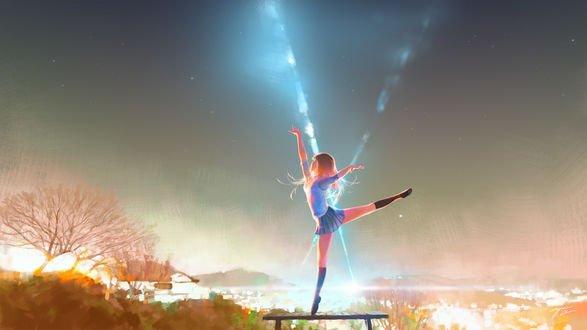 Обои Девочка стоит на одной ножке на лавочке, by Wayne Chan