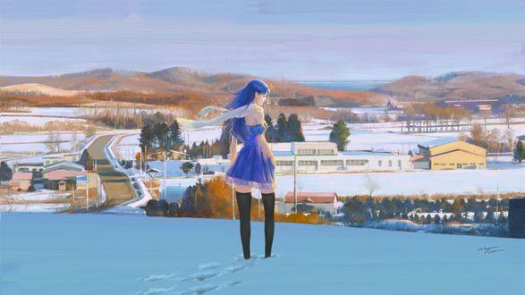 Обои Девушка стоит на снегу, by Wayne Chan