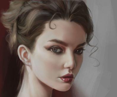 Обои Модель Polina Litvinova / Полина Литвинова смотрит на нас, by bigcerberus wang