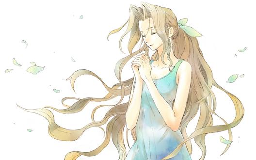Обои Айрис Гейнсборо / Аэрис / Aerith Gainsborough / Aeris из видеоигры Последняя фантазия 7 / Final Fantasy VII, стоит с закрытыми глазами на фоне парящих листьев, автор оригинала Mareta