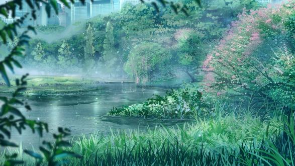 Обои Парк из аниме Сад изящных слов / Kotonoha no Niwa