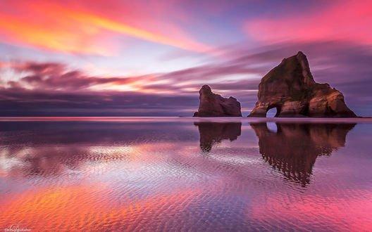 Обои Острова Archway, Wharariki, New Zealand / Арчуэй, Уарарики, Новая Зеландия, DK Photography