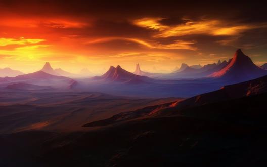 Обои Инопланетный горный хребет на восходе солнца, автор Jean-Didier