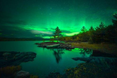 Обои Северное сияние над озером Ringerike, Norway / Ringerike, Норвегия, фотограф Ole Henrik Skjelstad