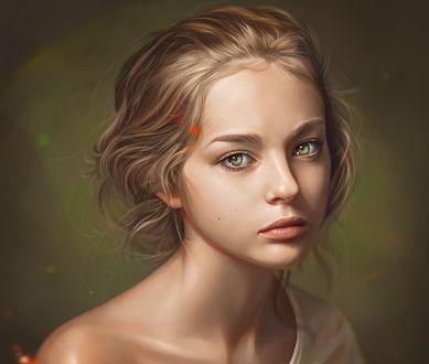 Обои Портрет девушки с оголенным плечом, by Loy Baldon