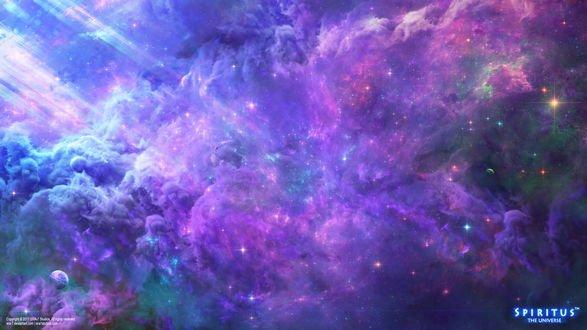 Обои Корабль на фоне космической туманности, by ERA-7