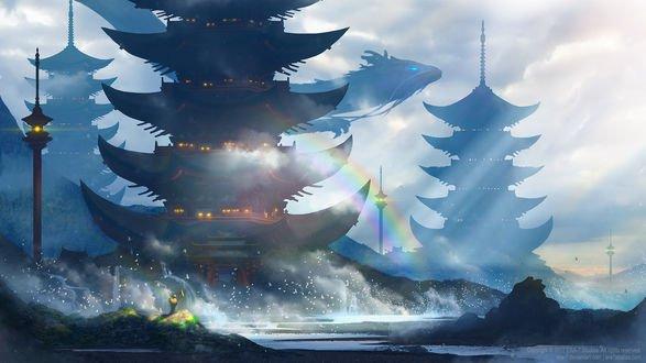 Обои Дракон парит в небе над пагодами, by ERA-7