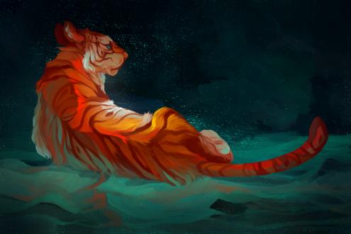 Обои Тигр в воде, by starapture