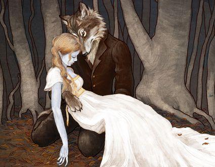Обои Парень - волк держит мертвую девушку, by bluefooted