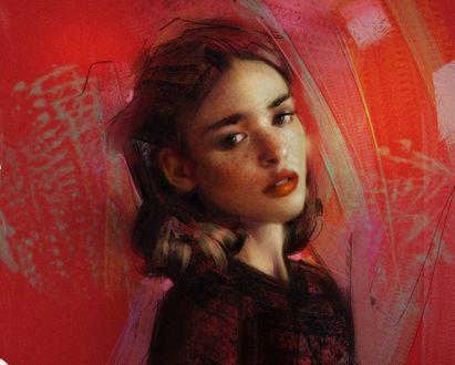 Обои Портрет девушки на красном фоне, by Daniel Bolling