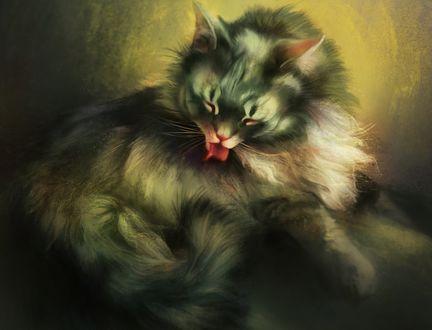 Обои Кошка вылизывает себя, by pixxus