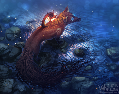 Обои Мистическая лиса с фонарем на спине, by Whiluna