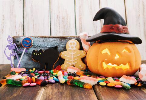 Обои Натюрморт для Halloween : сладости, игрушки и тыква-светильник в шляпе ведьмы