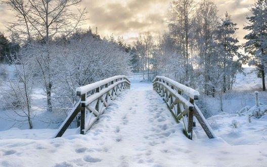 Обои Заснеженный мост через замерзшую реку