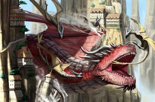 Обои Огромный красный крылатый дракон в окружении маленьких драконов летает между скал с домами