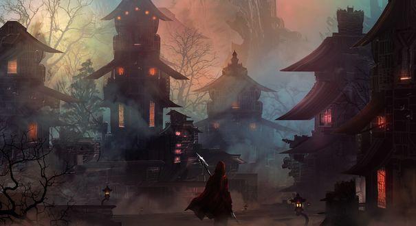 Обои Рыцарь в красном плаще стоит спиной по середине улицы ночного города в тумане