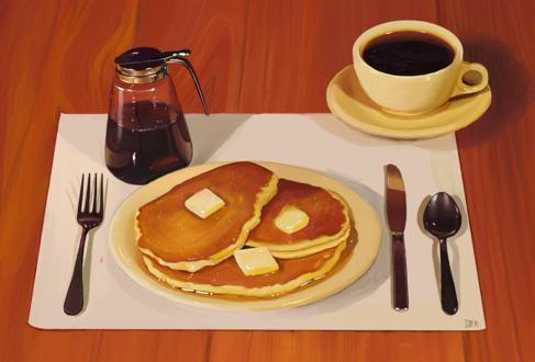 Обои Чашка кофе на блюдце, тарелка с оладьями и столовые приборы на столе, by Nixiona