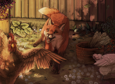 Обои Лисица охотится за курицей, by Arkay9