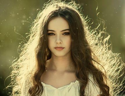 Обои Красивая модель Оливия с длинными волосами, фотограф An La