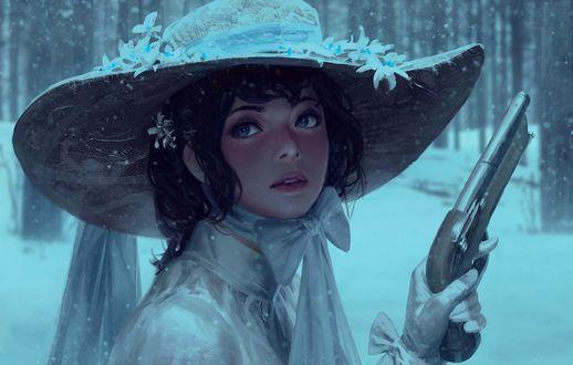 Обои Девушка в шляпе с пистолетом в руке, by GUWEIZ