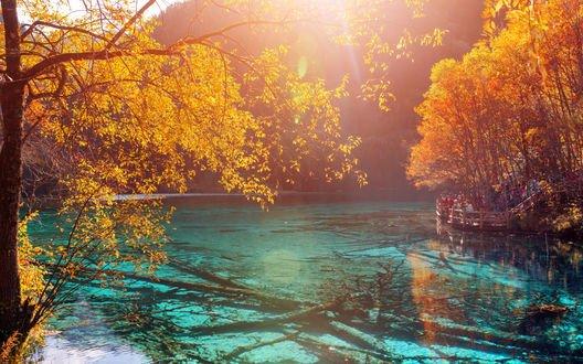 Обои Прозрачное голубое озеро, в котором отражаются яркие осенние деревья и поднимается легкий туман