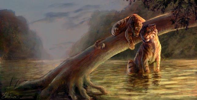 Обои Два тигра на фоне природы, by Neovirah