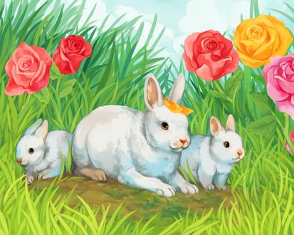 Обои Три белых кролика на фоне роз и травы, by Susiron