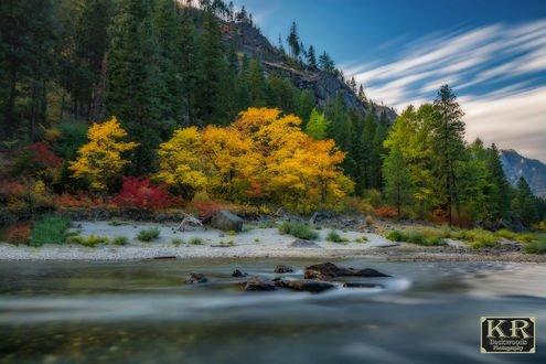 Обои Осень на реке Wenatchee / Веначи, фотограф Kevin Russell