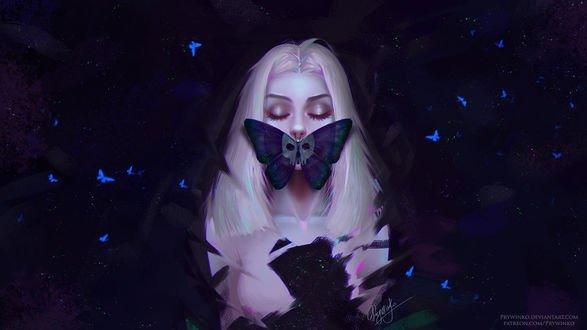 Обои Девушка с закрытыми глазами и бабочкой на губах на темном фоне с мотыльками, by Prywinko