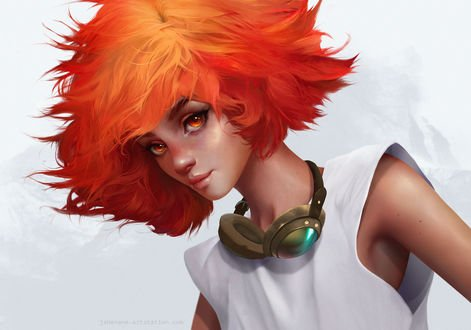 Обои Девушка с яркими рыжими волосами, by Jane Nane