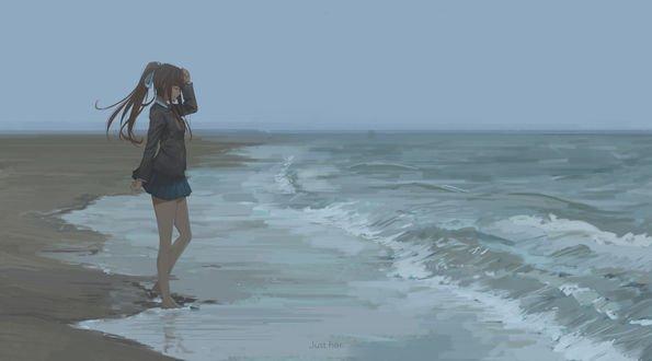 Девушка Моника / Monika стоит на берегу моря, персонаж из игры Доки доки литературный клуб / Doki doki literature club, by QuantumGLaDOS