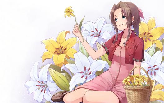 Обои Айрис Гейнсборо / Аэрис / Aerith Gainsborough / Aeris из видеоигры Последняя фантазия 7 / Final Fantasy VII, сидит на фоне лилий, автор оригинала Yahiro